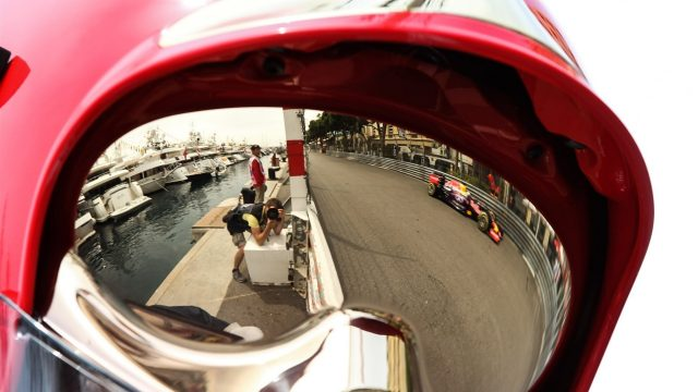 Daniel Ricciardo (AUS) Red Bull Racing RB11 reflected in a firemans helmet at Formula One World Championship, Rd6, Monaco Grand Prix Qualifying, Monte-Carlo, Monaco, Saturday 23 May 2015. &copy&#x3b; Sutton Motorsport Images