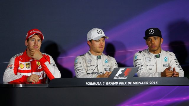 (L to R): Sebastian Vettel (GER) Ferrari, Nico Rosberg (GER) Mercedes AMG F1 and Lewis Hamilton (GBR) Mercedes AMG F1 in the Press Conference at Formula One World Championship, Rd6, Monaco Grand Prix Race, Monte-Carlo, Monaco, Sunday 24 May 2015. &copy&#x3b; Sutton Motorsport Images