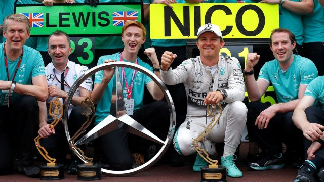 Nico Rosberg (GER) Mercedes AMG F1 celebrates with the team at Formula One World Championship, Rd6, Monaco Grand Prix Race, Monte-Carlo, Monaco, Sunday 24 May 2015. &copy&#x3b; Sutton Motorsport Images