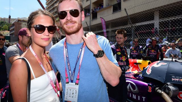 Michael Fassbender (GER) Hollywood Actor with his girlfriend Alicia Vikander on the grid at Formula One World Championship, Rd6, Monaco Grand Prix Race, Monte-Carlo, Monaco, Sunday 24 May 2015. &copy&#x3b; Sutton Motorsport Images