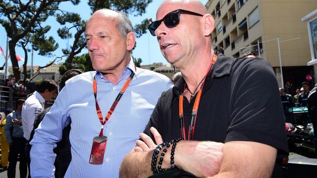Ron Dennis (GBR) McLaren Executive Chairman and Guy Liberte (CDN) Cirque de Soleil on the grid at Formula One World Championship, Rd6, Monaco Grand Prix Race, Monte-Carlo, Monaco, Sunday 24 May 2015. &copy&#x3b; Sutton Motorsport Images
