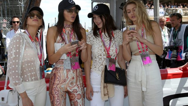 Kendall Jenner (USA), Gigi Hadid (USA), Bella Hadid (USA) and Hailey Baldwin (USA) on the grid at Formula One World Championship, Rd6, Monaco Grand Prix Race, Monte-Carlo, Monaco, Sunday 24 May 2015. &copy&#x3b; Sutton Motorsport Images