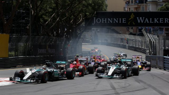 Lewis Hamilton (GBR) Mercedes AMG F1 W06 leads at the start of the race at Formula One World Championship, Rd6, Monaco Grand Prix Race, Monte-Carlo, Monaco, Sunday 24 May 2015. &copy&#x3b; Sutton Motorsport Images