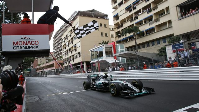 Chequered flag for race winner Nico Rosberg (GER) Mercedes AMG F1 W06 at Formula One World Championship, Rd6, Monaco Grand Prix Race, Monte-Carlo, Monaco, Sunday 24 May 2015. &copy&#x3b; Sutton Motorsport Images