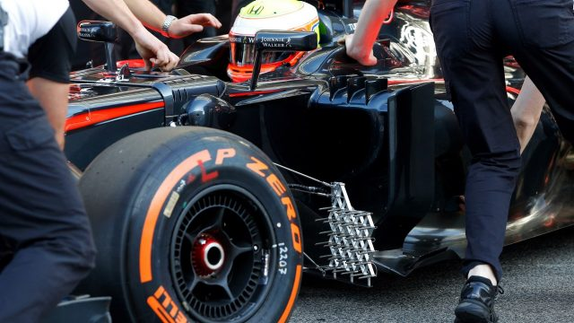 Oliver Turvey (GBR) McLaren MP4-30 and aero sensor at Formula One Testing, Day One, Barcelona, Spain, 12 May 2015. &copy&#x3b; Sutton Motorsport Images