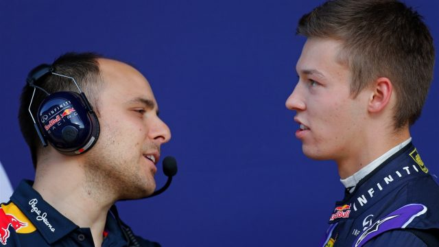 Gianpiero Lambiase (ITA) Red Bull Racing Engineer and Daniil Kyvat (RUS) Red Bull Racing at Formula One Testing, Day One, Barcelona, Spain, 12 May 2015. &copy&#x3b; Sutton Motorsport Images