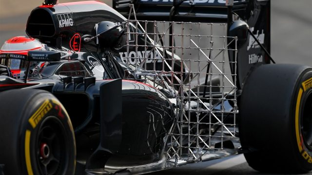 Jenson Button (GBR) McLaren MP4-30 with aero sensor at Formula One Testing, Day Two, Barcelona, Spain, 13 May 2015. &copy&#x3b; Sutton Motorsport Images