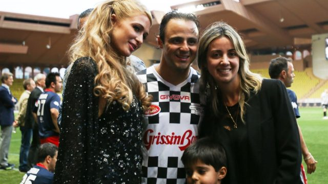 Paris Hilton (USA) with Felipe Massa (BRA) Williams, Rafaela Bassi (BRA) and son Felipinho Massa (BRA) at World Stars Football Match, Stade Luis II, Monaco, Tuesday 19 May 2015. &copy&#x3b; Sutton Motorsport Images