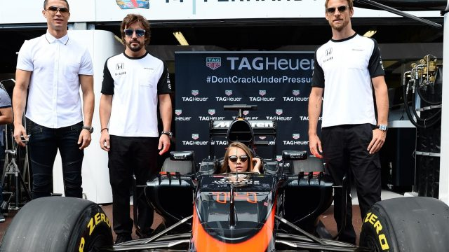 Christiano Ronaldo (POR) Footballer, Fernando Alonso (ESP) McLaren, Cara Delevingne (GBR) Model and Jenson Button (GBR) McLaren at Formula One World Championship, Rd6, Monaco Grand Prix Race, Monte-Carlo, Monaco, Sunday 24 May 2015. &copy&#x3b; Sutton Motorsport Images