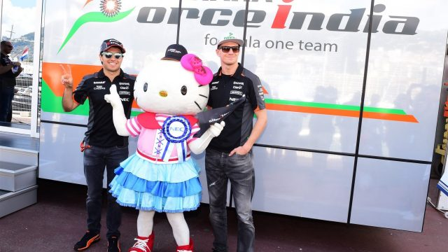 Hello kitty with the Sergio Perez (MEX) Force India and Nico Hulkenberg (GER) Force India F1 at Formula One World Championship, Rd6, Monaco Grand Prix Race, Monte-Carlo, Monaco, Sunday 24 May 2015. &copy&#x3b; Sutton Motorsport Images