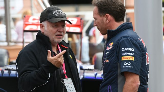 Christian Horner (GBR) Red Bull Racing Team Principal with Norbert Vettel (GER) Father of Sebastian Vettel (GER) Ferrari at Formula One World Championship, Rd6, Monaco Grand Prix Practice, Monte-Carlo, Monaco, Thursday 21  May 2015. &copy&#x3b; Sutton Motorsport Images