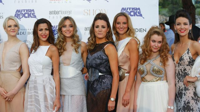 Natalie Pinkham (GBR) Sky TV and Emilia Pikkarainen (FIN) and guests at Amber Lounge Fashion Show, Le Meridien Beach Plaza, Monte Carlo, Monaco, 22 May 2015. &copy&#x3b; Sutton Motorsport Images