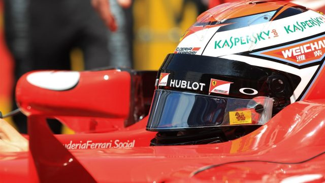 Kimi Raikkonen (FIN) Ferrari on the grid at Formula One World Championship, Rd5, Spanish Grand Prix Race, Barcelona, Spain, Sunday 10 May 2015. &copy&#x3b; Sutton Motorsport Images