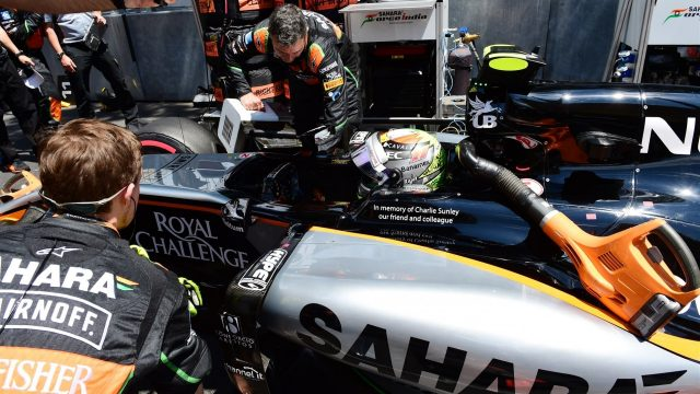 Sergio Perez (MEX) Force India VJM08 on the grid at Formula One World Championship, Rd6, Monaco Grand Prix Race, Monte-Carlo, Monaco, Sunday 24 May 2015. &copy&#x3b; Sutton Motorsport Images
