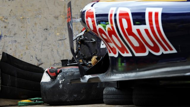 The crashed car of race retiree Max Verstappen (NDL) Scuderia Toro Rosso STR10 at Formula One World Championship, Rd6, Monaco Grand Prix Race, Monte-Carlo, Monaco, Sunday 24 May 2015. &copy&#x3b; Sutton Motorsport Images