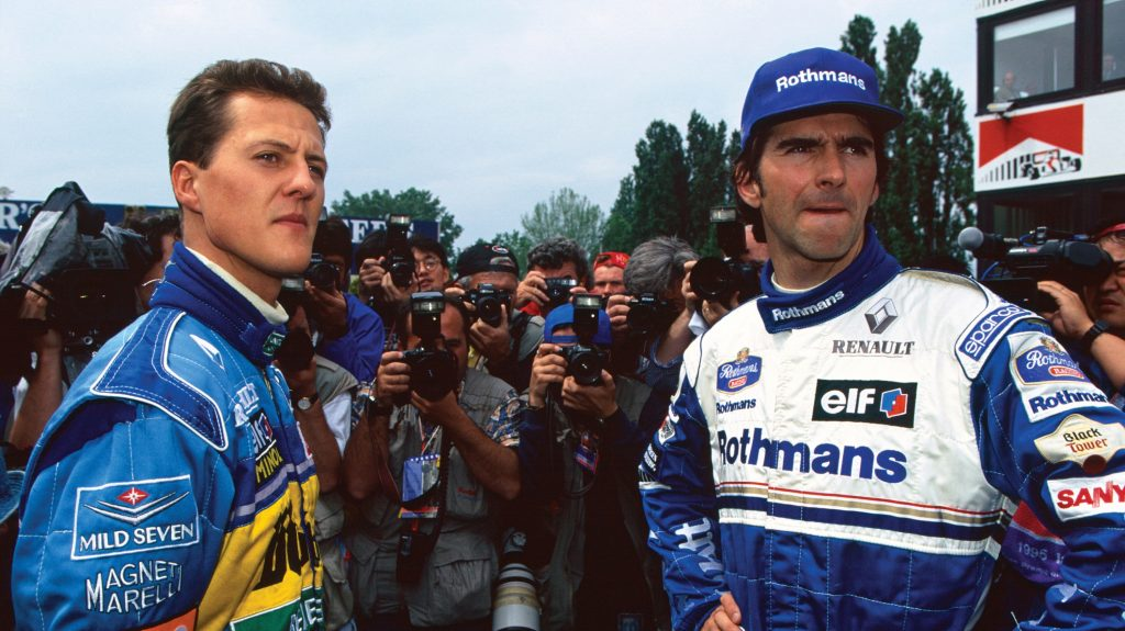 Next Previous Enlarge   Damon Hill Williams Fw Renault And Michael Schumacher