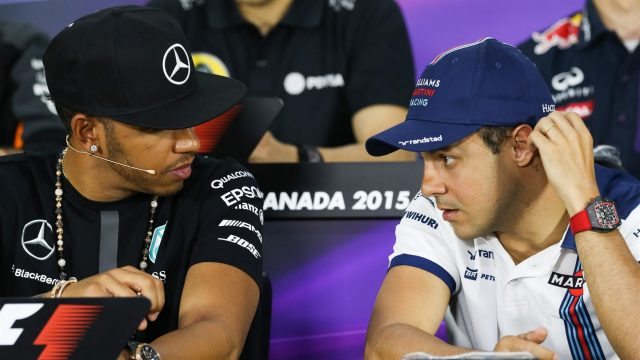 Lewis Hamilton (GBR) Mercedes AMG F1 and Felipe Massa (BRA) Williamsat the Press Confernece at Formula One World Championship, Rd7, Canadian Grand Prix, Preparations, Montreal, Canada, Thursday 4 June 2015. &copy&#x3b; Sutton Motorsport Images