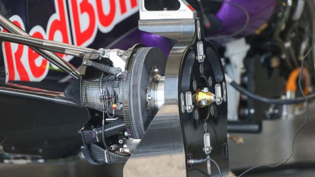 Red Bull Racing RB11 front wheel hub detail at Formula One World Championship, Rd7, Canadian Grand Prix, Preparations, Montreal, Canada, Thursday 4 June 2015. &copy&#x3b; Sutton Motorsport Images