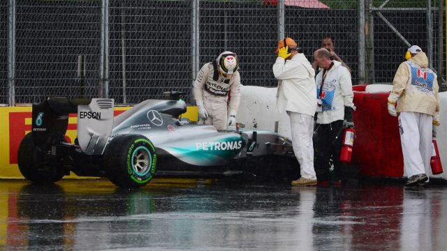 Lewis Hamilton (GBR) Mercedes AMG F1 W06 crashes in FP2 at Turn 10 at Formula One World Championship, Rd7, Canadian Grand Prix, Practice, Montreal, Canada, Friday 5 June 2015. &copy&#x3b; Sutton Motorsport Images