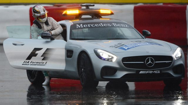 Lewis Hamilton (GBR) Mercedes AMG F1 crashed in FP2 at Turn 10 and hitches a lift in the Safety Car at Formula One World Championship, Rd7, Canadian Grand Prix, Practice, Montreal, Canada, Friday 5 June 2015. &copy&#x3b; Sutton Motorsport Images