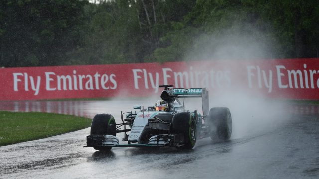 Lewis Hamilton (GBR) Mercedes AMG F1 W06 in the wet conditions on intermediate tyres at Formula One World Championship, Rd7, Canadian Grand Prix, Practice, Montreal, Canada, Friday 5 June 2015. &copy&#x3b; Sutton Motorsport Images