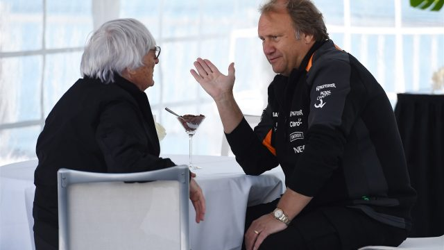 Robert Fearnley (GBR) Force India F1 Team Deputy Team Principal talks with Bernie Ecclestone (GBR) CEO Formula One Group (FOM) at Formula One World Championship, Rd7, Canadian Grand Prix, Qualifying, Montreal, Canada, Saturday 6 June 2015. &copy&#x3b; Sutton Motorsport Images