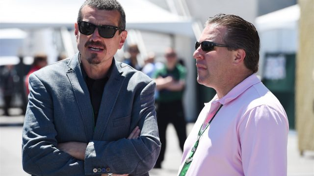 Guenther Steiner (ITA) Haas team principal and Zak Brown (USA) Founder & CEO Just Marketing International at Formula One World Championship, Rd7, Canadian Grand Prix, Qualifying, Montreal, Canada, Saturday 6 June 2015. &copy&#x3b; Sutton Motorsport Images