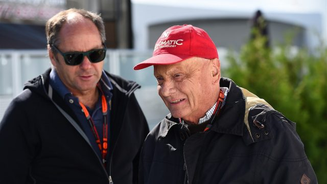 Niki Lauda (AUT) Mercedes AMG F1 Non-Executive Chairman talks with Gerhard Berger (AUT) Former F1 driver at Formula One World Championship, Rd7, Canadian Grand Prix, Qualifying, Montreal, Canada, Saturday 6 June 2015. &copy&#x3b; Sutton Motorsport Images