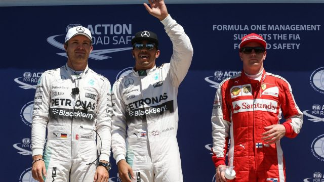 (L to R): Nico Rosberg (GER) Mercedes AMG F1, pole sitter Lewis Hamilton (GBR) Mercedes AMG F1 and Kimi Raikkonen (FIN) Ferrari celebrate in Parc Ferme  at Formula One World Championship, Rd7, Canadian Grand Prix, Qualifying, Montreal, Canada, Saturday 6 June 2015. &copy&#x3b; Sutton Motorsport Images