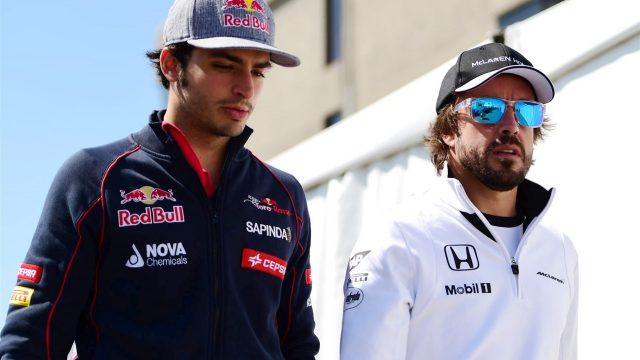 Carlos Sainz jr (ESP) Scuderia Toro Rosso and Fernando Alonso (ESP) McLaren at Formula One World Championship, Rd7, Canadian Grand Prix, Practice, Montreal, Canada, Friday 5 June 2015. &copy&#x3b; Sutton Motorsport Images