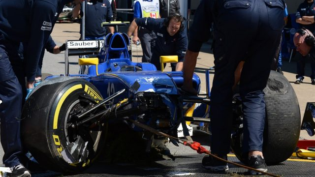 Felipe Nasr (BRA) Sauber C34 crashed car in FP3 at Formula One World Championship, Rd7, Canadian Grand Prix, Qualifying, Montreal, Canada, Saturday 6 June 2015. &copy&#x3b; Sutton Motorsport Images