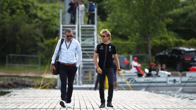 Nico Rosberg (GER) Mercedes AMG F1 with his manager Georg Nolte (GER) at Formula One World Championship, Rd7, Canadian Grand Prix, Race, Montreal, Canada, Sunday 7 June 2015. &copy&#x3b; Sutton Motorsport Images
