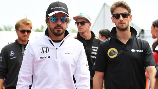 Fernando Alonso (ESP) McLaren and Romain Grosjean (FRA) Lotus F1 on the drivers parade at Formula One World Championship, Rd7, Canadian Grand Prix, Race, Montreal, Canada, Sunday 7 June 2015. &copy&#x3b; Sutton Motorsport Images