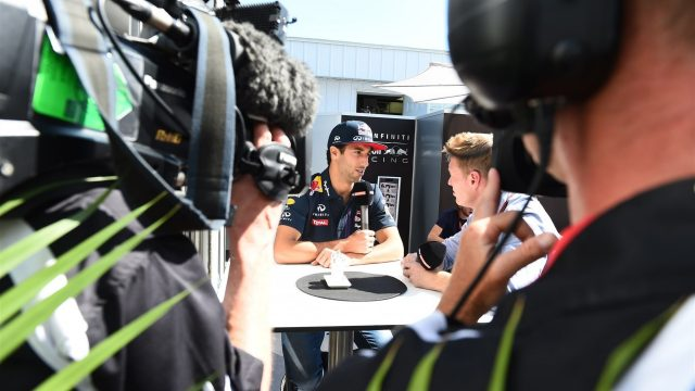 Daniel Ricciardo (AUS) Red Bull Racing talks with Simon Lazenby (GBR) Sky TV at Formula One World Championship, Rd7, Canadian Grand Prix, Race, Montreal, Canada, Sunday 7 June 2015. &copy&#x3b; Sutton Motorsport Images