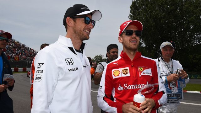 Jenson Button (GBR) McLaren and Sebastian Vettel (GER) Ferrari on the drivers parade at Formula One World Championship, Rd7, Canadian Grand Prix, Race, Montreal, Canada, Sunday 7 June 2015. &copy&#x3b; Sutton Motorsport Images