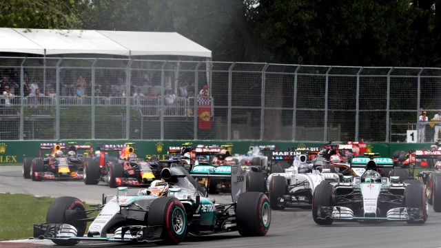 Lewis Hamilton (GBR) Mercedes AMG F1 W06 leads at start of the race at Formula One World Championship, Rd7, Canadian Grand Prix, Race, Montreal, Canada, Sunday 7 June 2015. &copy&#x3b; Sutton Motorsport Images