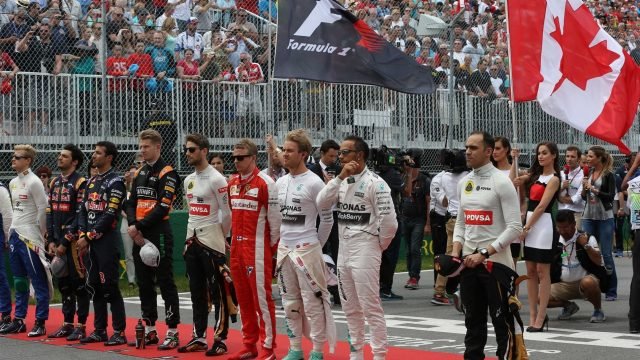 Drivers observe national anthem on the grid at Formula One World Championship, Rd7, Canadian Grand Prix, Race, Montreal, Canada, Sunday 7 June 2015. &copy&#x3b; Sutton Motorsport Images