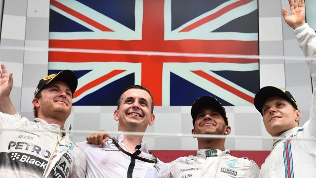 (L to R): Nico Rosberg (GER) Mercedes AMG F1, Lewis Hamilton (GBR) Mercedes AMG F1 and Valtteri Bottas (FIN) Williams celebrate on the Podium at Formula One World Championship, Rd7, Canadian Grand Prix, Race, Montreal, Canada, Sunday 7 June 2015. &copy&#x3b; Sutton Motorsport Images