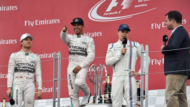 (L to R): Nico Rosberg (GER) Mercedes AMG F1, Lewis Hamilton (GBR) Mercedes AMG F1, Valtteri Bottas (FIN) Williams and Ted Kravitz (GBR) Sky TV celebrate on the Podium at Formula One World Championship, Rd7, Canadian Grand Prix, Race, Montreal, Canada, Sunday 7 June 2015. &copy&#x3b; Sutton Motorsport Images