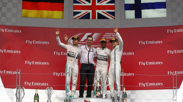 (L to R): Nico Rosberg (GER) Mercedes AMG F1, race winner Lewis Hamilton (GBR) Mercedes AMG F1 and Valtteri Bottas (FIN) Williams celebrate on the podium at Formula One World Championship, Rd7, Canadian Grand Prix, Race, Montreal, Canada, Sunday 7 June 2015. &copy&#x3b; Sutton Motorsport Images