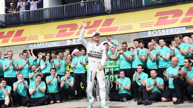 Second placed Nico Rosberg (GER) Mercedes AMG F1 celebrates with the team at Formula One World Championship, Rd7, Canadian Grand Prix, Race, Montreal, Canada, Sunday 7 June 2015. &copy&#x3b; Sutton Motorsport Images