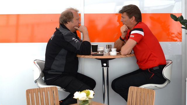Robert Fearnley (GBR) Force India F1 Team and Graeme Lowdon (GBR) Chief Executive Officer Marussia Formula One Team at Formula One World Championship, Rd7, Canadian Grand Prix, Race, Montreal, Canada, Sunday 7 June 2015. &copy&#x3b; Sutton Motorsport Images