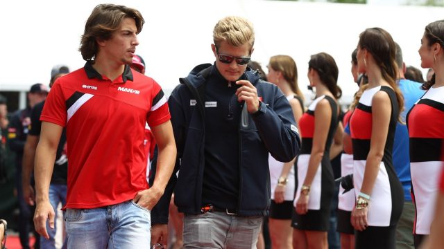 Roberto Merhi (ESP) Marussia and Marcus Ericsson (SWE) Sauber on the drivers parade at Formula One World Championship, Rd7, Canadian Grand Prix, Race, Montreal, Canada, Sunday 7 June 2015. &copy&#x3b; Sutton Motorsport Images