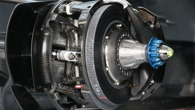 Mercedes AMG F1 W06 front brake and wheel hub detail at Formula One World Championship, Rd8, Austrian Grand Prix, Preparations, Spielberg, Austria, Thursday 18 June 2015. &copy&#x3b; Sutton Motorsport Images