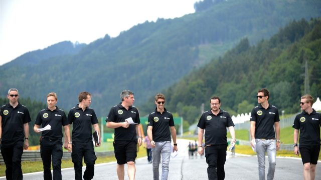 Romain Grosjean (FRA) Lotus F1 walks the track at Formula One World Championship, Rd8, Austrian Grand Prix, Preparations, Spielberg, Austria, Thursday 18 June 2015. &copy&#x3b; Sutton Motorsport Images