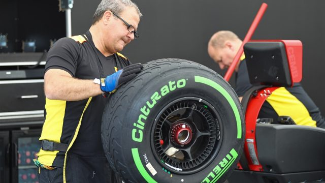 Pirelli engineers with green colored intermediates tyres at Formula One World Championship, Rd8, Austrian Grand Prix, Preparations, Spielberg, Austria, Thursday 18 June 2015. &copy&#x3b; Sutton Motorsport Images