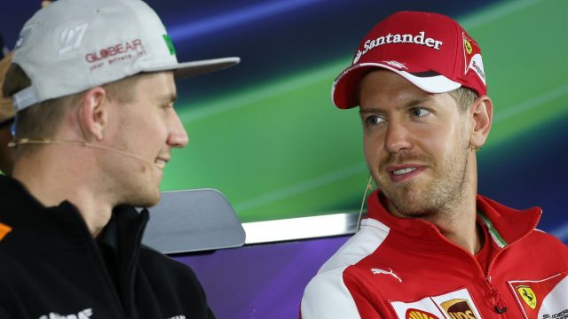 Nico Hulkenberg (GER) Force India F1 and Sebastian Vettel (GER) Ferrari in the press conference at Formula One World Championship, Rd8, Austrian Grand Prix, Preparations, Spielberg, Austria, Thursday 18 June 2015. &copy&#x3b; Sutton Motorsport Images