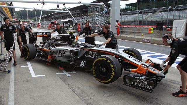 Sergio Perez (MEX) Force India VJM08 is pushed back into the garage at Formula One World Championship, Rd8, Austrian Grand Prix, Practice, Spielberg, Austria, Friday 19 June 2015. &copy&#x3b; Sutton Motorsport Images