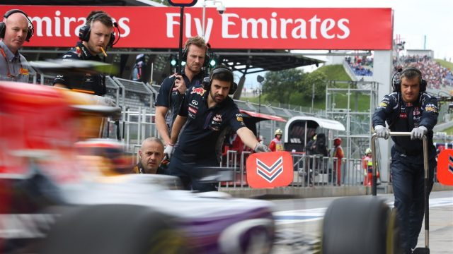 Daniel Ricciardo (AUS) Red Bull Racing RB11 pit stop at Formula One World Championship, Rd8, Austrian Grand Prix, Practice, Spielberg, Austria, Friday 19 June 2015. &copy&#x3b; Sutton Motorsport Images