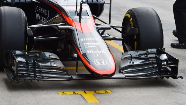 McLaren MP4-30 nose and front wing at Formula One World Championship, Rd8, Austrian Grand Prix, Practice, Spielberg, Austria, Friday 19 June 2015. &copy&#x3b; Sutton Motorsport Images